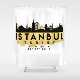 ISTANBUL TURKEY SILHOUETTE SKYLINE MAP ART Shower Curtain
