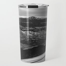 5280 Snowcap // Grainy Black & White Airplane Wing Landscape Photography of Colorado Rocky Mountains Travel Mug