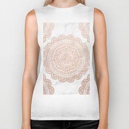 Mandala - rose gold and white marble 2 Biker Tank