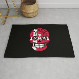 Sugar Skull with Roses and Flag of Denmark Rug