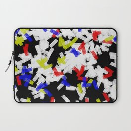 Primary Strokes - Abstract, primary colour & black and white raw paint brush strokes Laptop Sleeve