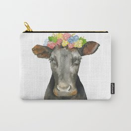 Black Cow with a Floral Crown Carry-All Pouch
