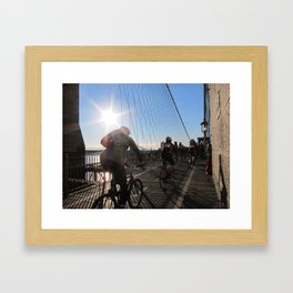Cyclists on the Brooklyn Bridge Framed Art Print