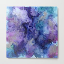 Watercolor Ink Abstract Metal Print