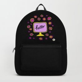 hello monitor vintage television Backpack