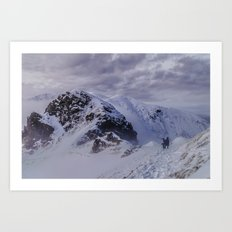 Hiking on top of The World Art Print