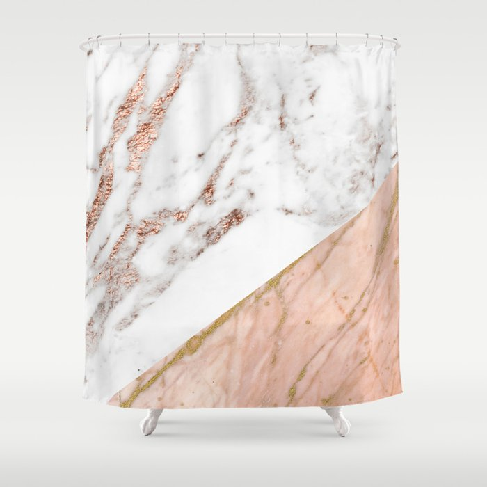 Marble rose gold blended Shower Curtain