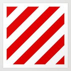 Stripes Diagonal Red & White Art Print