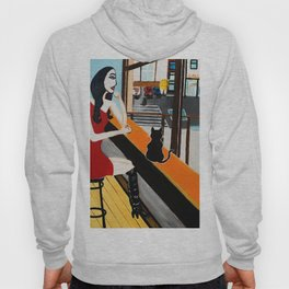 Girl With Coffee And Cat Hoody