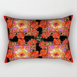 GREY & BLACK ART RED DECO ORANGE-RED POPPIES Rectangular Pillow