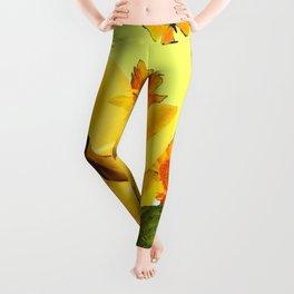 GREEN FROGS BANANAS SUNFLOWERS BUTTERFLY DESIGN Leggings
