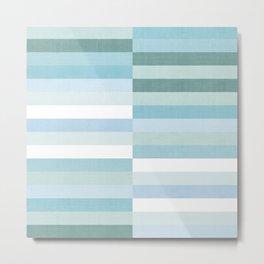Color Block Stripe in Mint Blue Metal Print