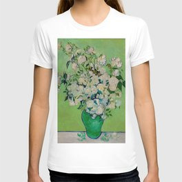 White Rose In A Vase Vincent van Gogh 1890 Oil on Canvas Still Life With Floral Arrangement T-shirt