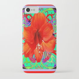 Italian  Style Design Red Amaryllis Abstract iPhone Case