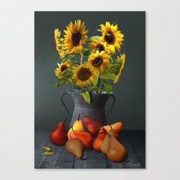 Pears and Sunflowers Canvas Print
