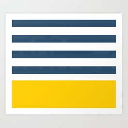 Navy and yellow stripes Art Print