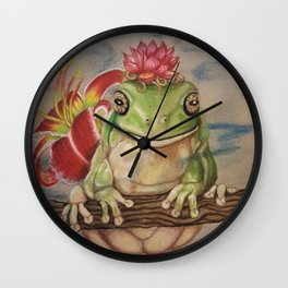 Wise Frog Wall Clock