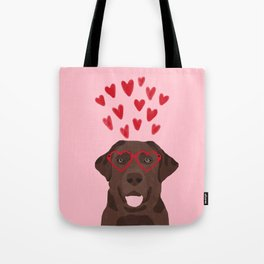 Chocolate Lab love heart glasses cute pet gifts valentines day labrador retriever Tote Bag