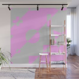 80s Throwback Pink and Grey Geometric Leotard Retro Pattern Wall Mural