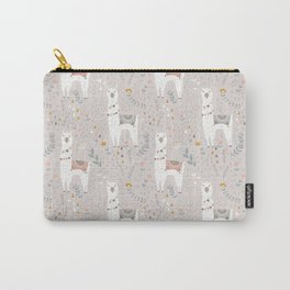 Sweet Llama on Gray Carry-All Pouch
