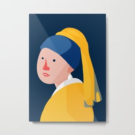 Cute With Pearl Earring Metal Print