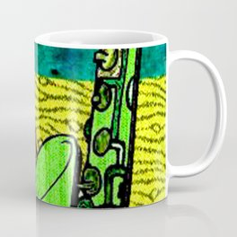 Earthy Music Instrument Collage with saxophone, drums, and trumpet Coffee Mug