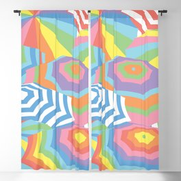 Colorful Beach Umbrella, Geometric Abstract Pattern Blackout Curtain