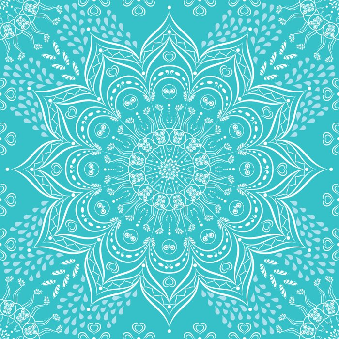 Teal Boho Mandala Duvet Cover