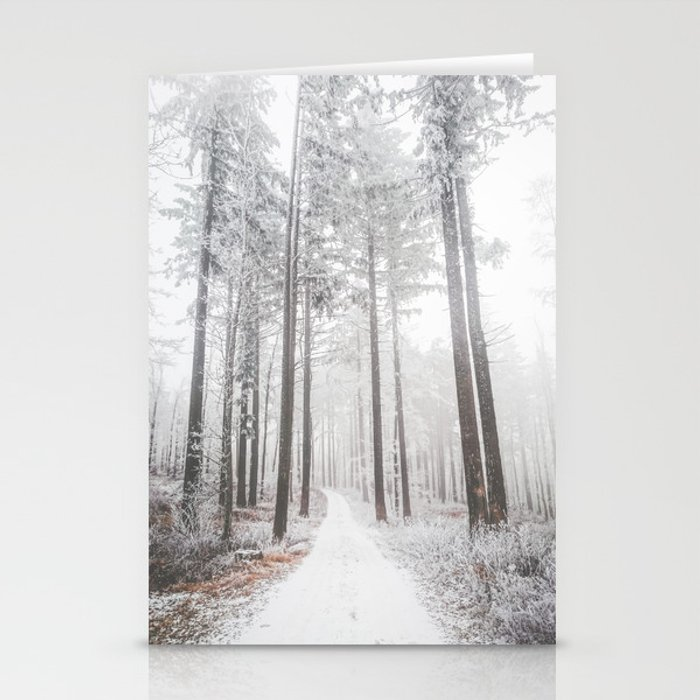 Mysterious road in a frozen foggy forest stationery card by Patrik Lovrin Photography
