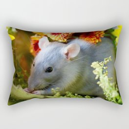 Sweet Floral Rat Rectangular Pillow
