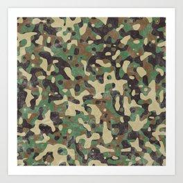 Distressed Army Camo Art Print