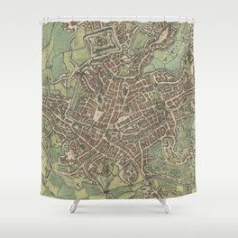 Vintage Map of Ghent Belgium (1650) Shower Curtain