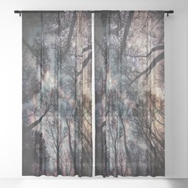 Starry Sky in the Forest Sheer Curtain