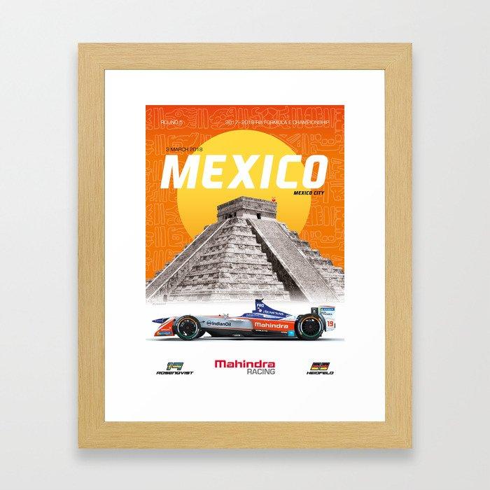 Mahindra Racing FIA Formula E Season 4 Mexico City E-Prix Poster Framed Art Print