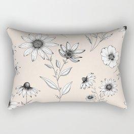 Wildflowers Pattern   Cream Rectangular Pillow