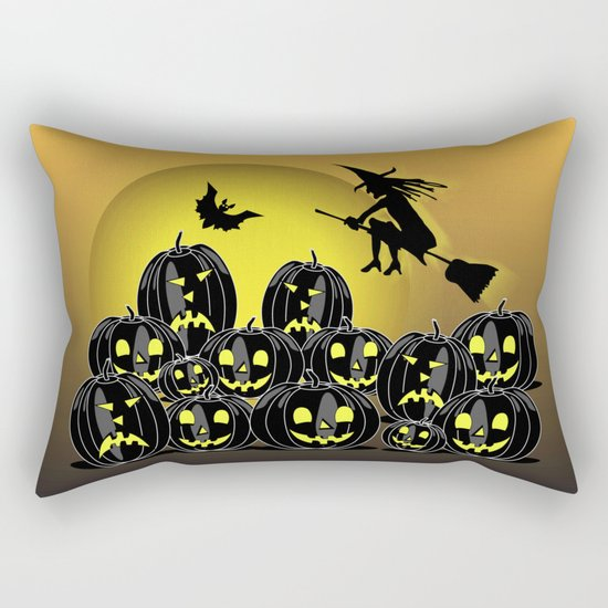 Pumpkins and witch in front of a full moon Rectangular Pillow