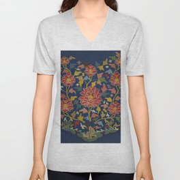 Chinese embroidery from a Cloud Collar Ocean Rocks and Peonies in high resolution during the Yuan dy Unisex V-Neck