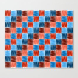 background squares blue red embroidery Canvas Print