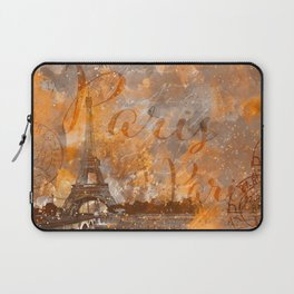 Paris Eifel Tower orange mixed media art Laptop Sleeve