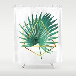 Minimal Tropical Palm Leaf - Palm And Gold - Gold Geometric Shape - Modern Tropical Wall Art - Green Shower Curtain
