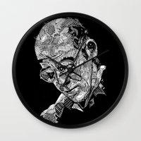 hunter s thompson Wall Clocks featuring Hunter S Thompson by Andy Christofi