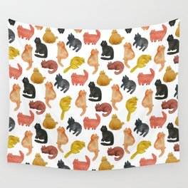 Purrrfect watercolor cats pattern Wall Tapestry