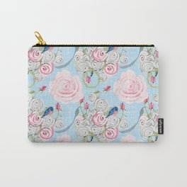 Bluebirds and Watercolor roses on pale blue with white French script Carry-All Pouch