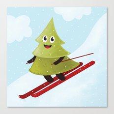 Happy Pine Tree on Ski Canvas Print