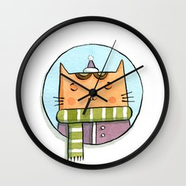 Cat and Scarf Wall Clock