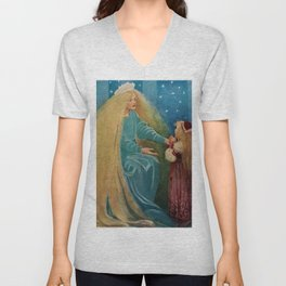 The Princess and the Goblin fairy tale children's portrait painting by Jessie Wilcox Smith Unisex V-Neck