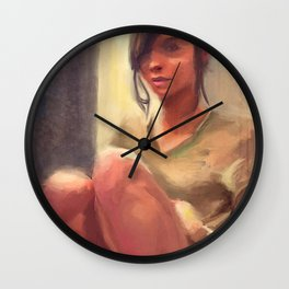 Painting of Half Naked Young Woman In Socks Wall Clock