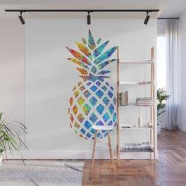 Watercolor and Splatter Pineapple I Wall Mural