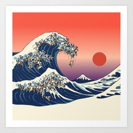 The Great Wave of Pugs / Square Art Print
