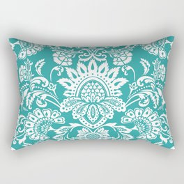 Damask in emerald Rectangular Pillow